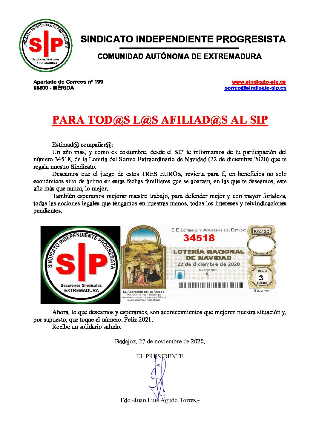Lotería de Navidad 2020 para todos los afiliados del SIP